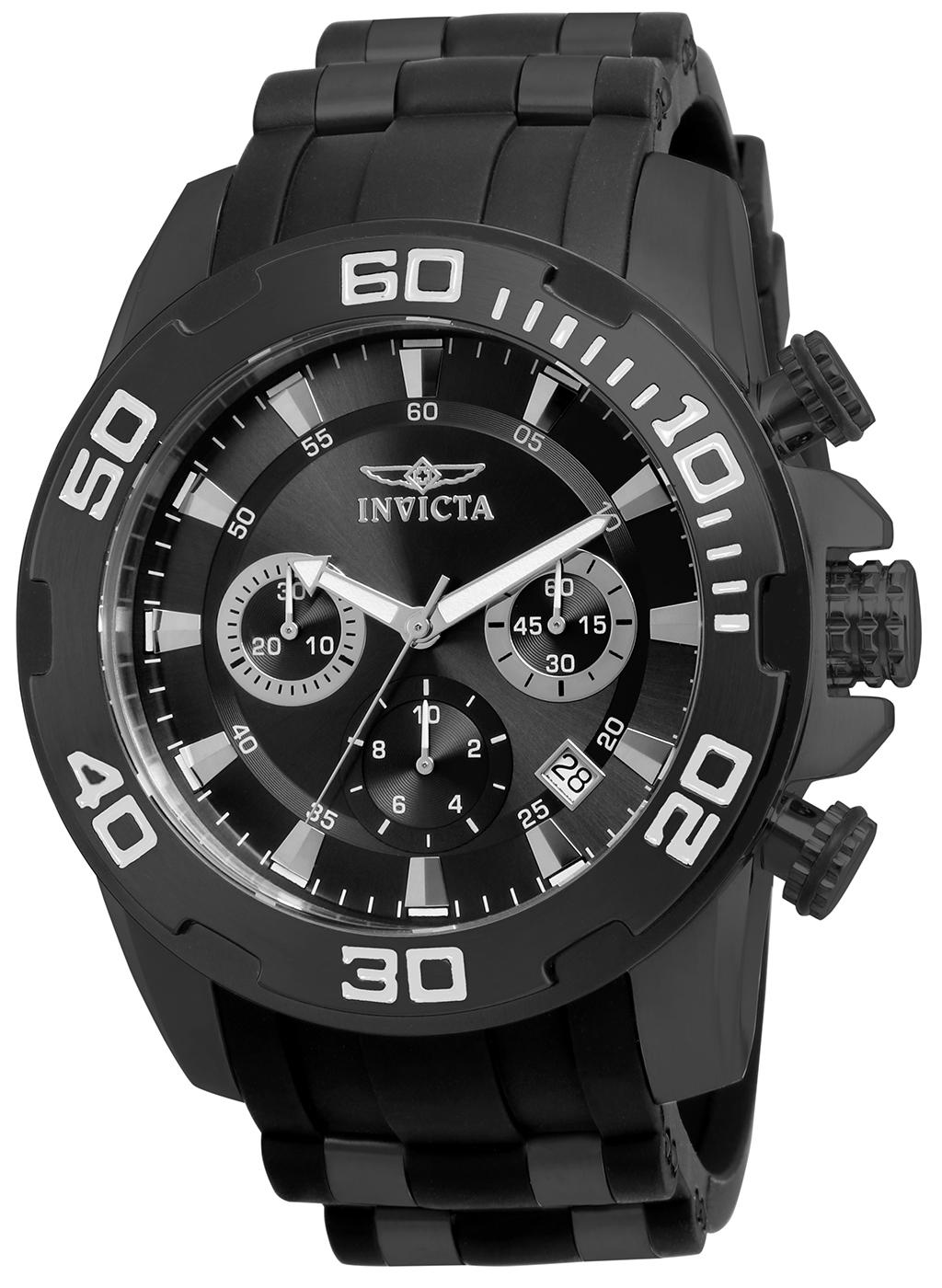 Invicta 22338 Men's Pro Diver Chronograph Black IP Steel & Silicone Strap Black Dial Quartz Watch