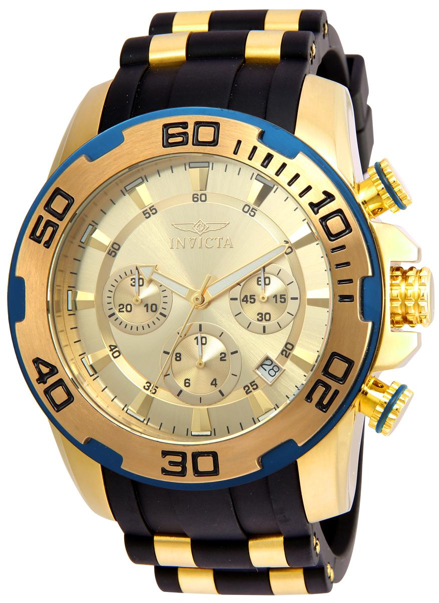 Invicta 22345 Men's Pro Diver Chronograph Gold Tone Dial Steel & Silicone Strap Watch