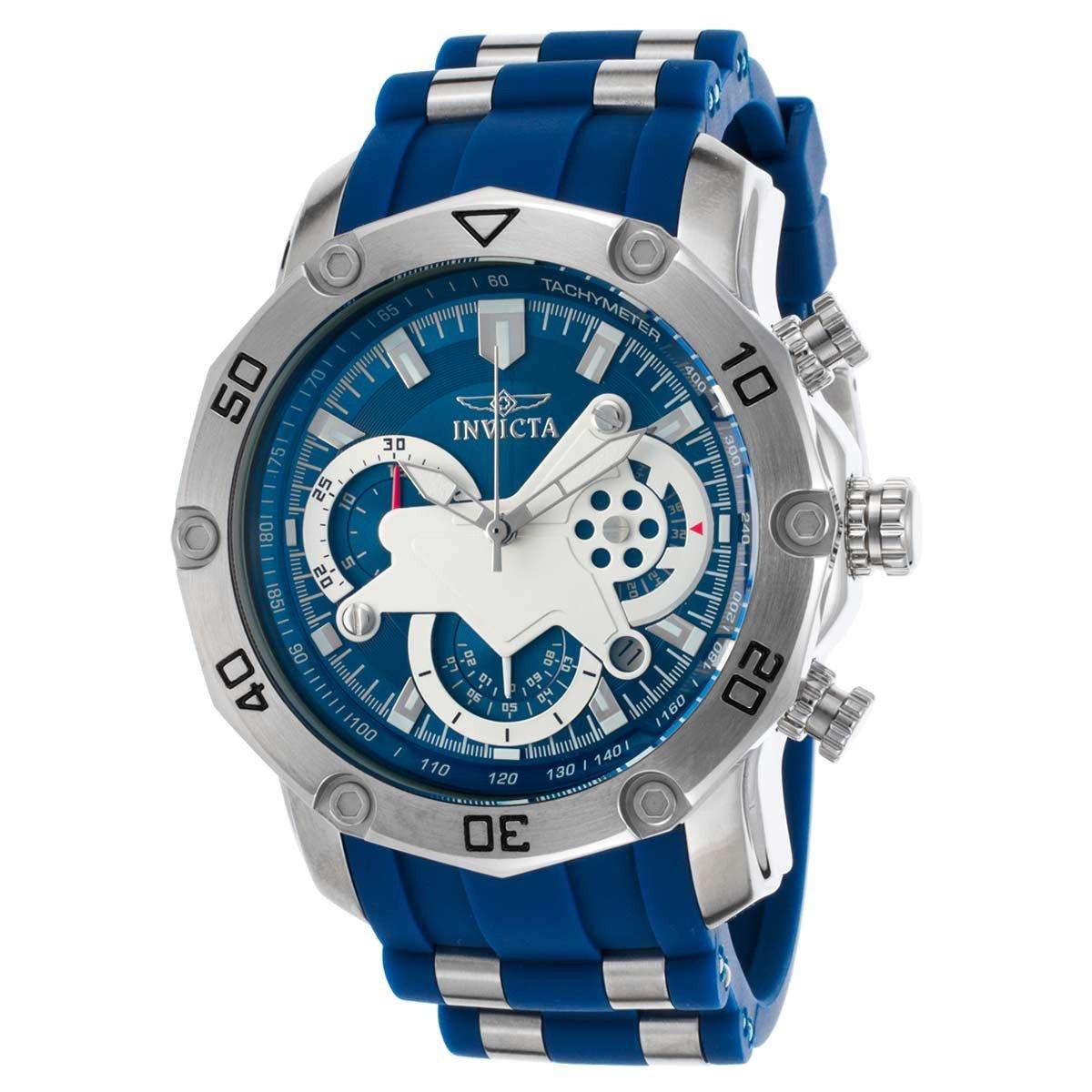 Invicta 22796 Men's Pro Diver Blue & White Dial Steel & Silicone Strap Chronograph Watch