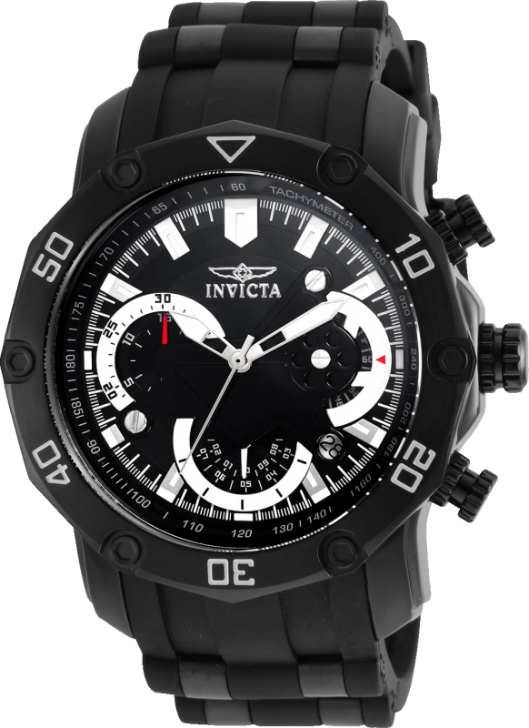 Invicta 22799 Men's Pro Diver Chronograph Black Dial Steel & Silicone Strap Watch