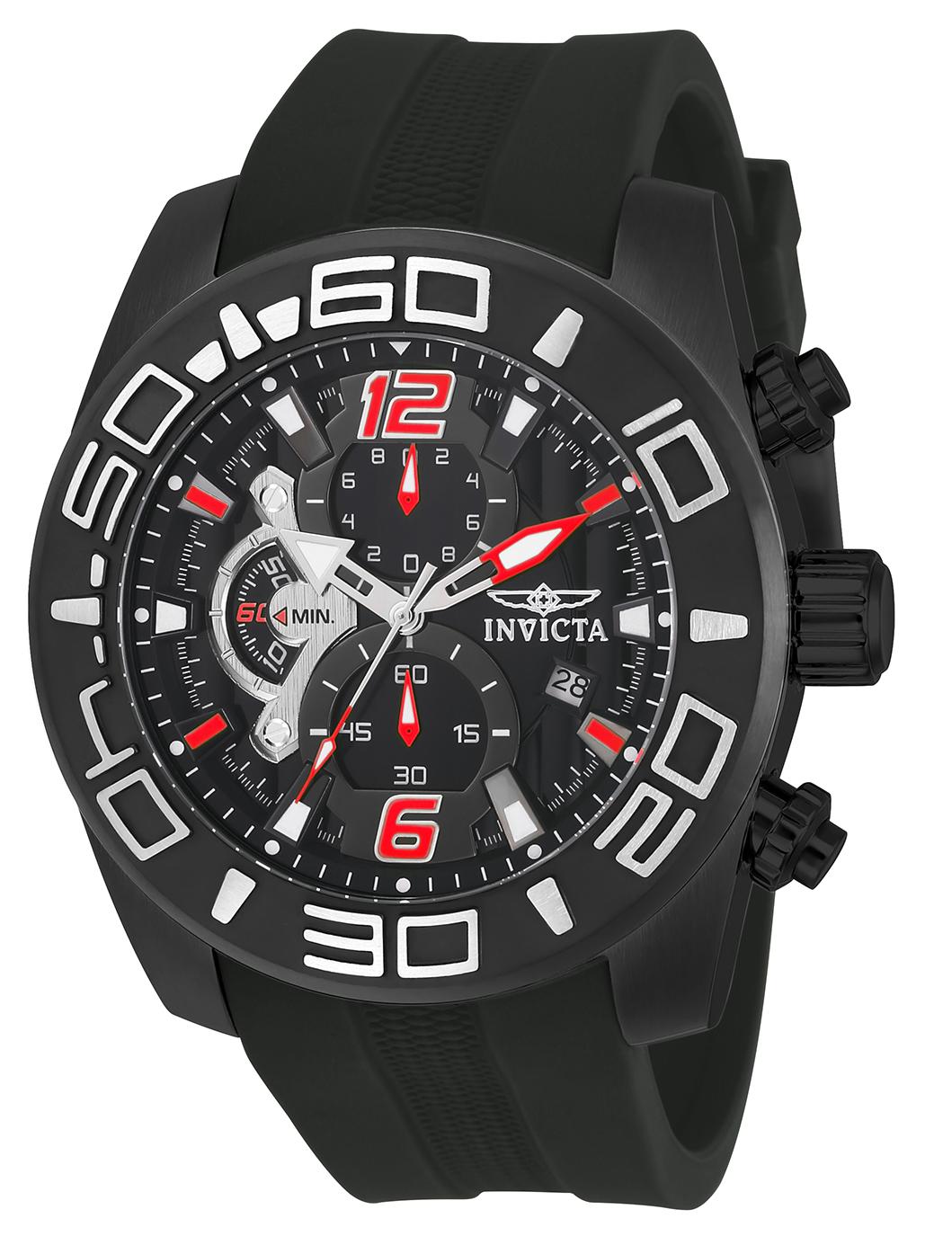 Invicta 22811 Men's Pro Diver Black Dial Black IP Steel Black Silicone Strap Chronograph Watch