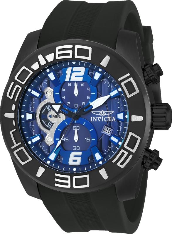 Invicta 22813 Men's Pro Diver Blue Dial Black IP Steel Black Silicone Strap Chronograph Watch