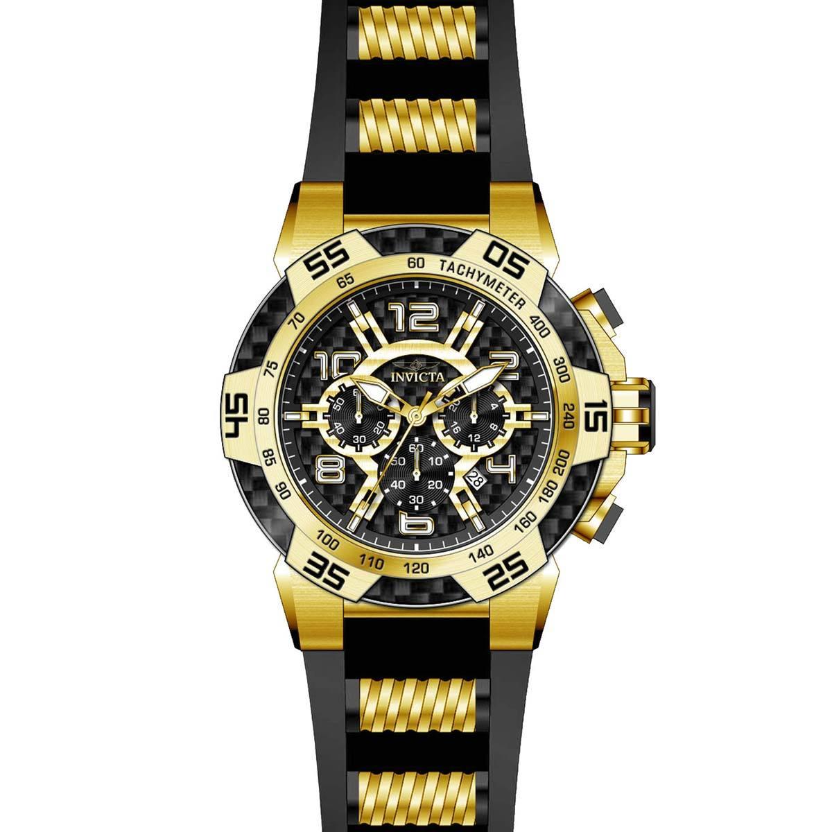 Invicta 24233 Men's Speedway Black Carbon Fiber Dial Yellow Steel & Silicone Strap Chrono Watch