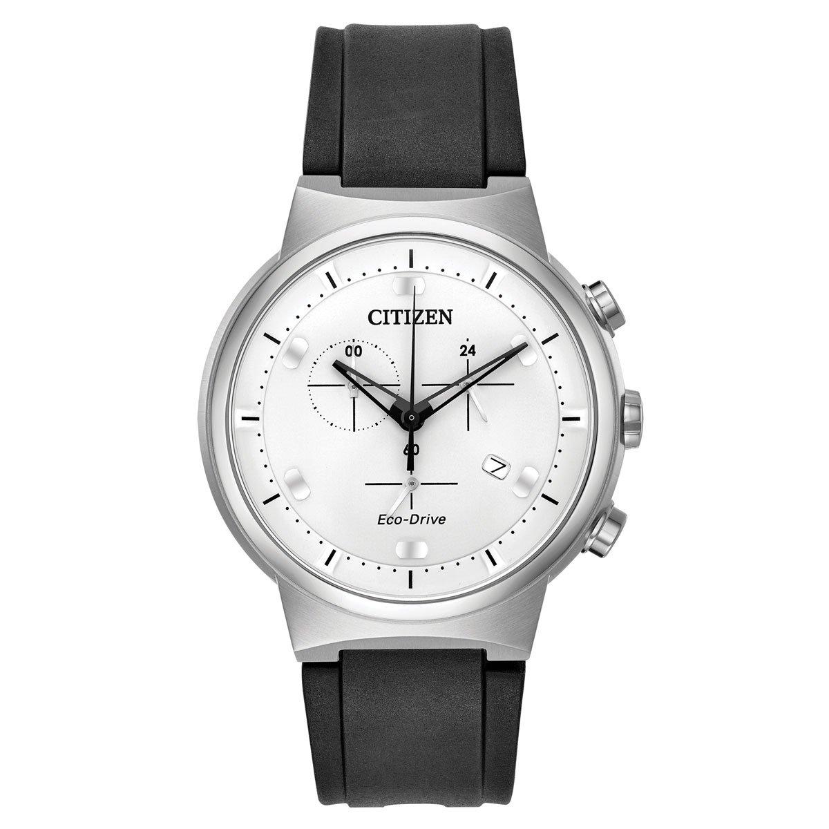 Citizen AT2400-05A Men's Paradex Eco-Drive White Dial Black Polyurethane Strap Chronograph Watch